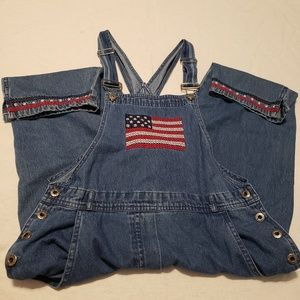 Agapo American flag denim crop overalls